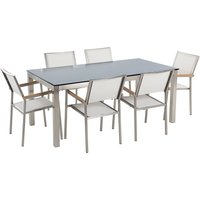 6 Seater Garden Dining Set Black Glass Top with White Chairs GROSSETO - BELIANI