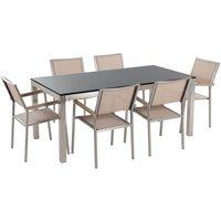 Beliani - Garden Dining Set Black Granite Top 180 cm Table 6 Beige Chairs Grosseto