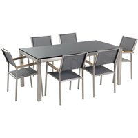 Beliani - 6 Seater Garden Dining Set Black Granite Top with Grey Chairs GROSSETO