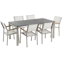 Beliani - 6 Seater Garden Dining Set Black Granite Top with White Chairs GROSSETO