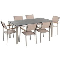 Beliani - 6 Seater Garden Dining Set Flamed Granite Top with Beige Chairs GROSSETO