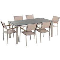 Beliani - Garden Dining Set Flamed Granite Top 180x90 cm Table 6 Beige Chairs Grosseto