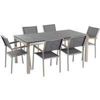 Beliani - 6 Seater Garden Dining Set Flamed Granite Top with Grey Chairs GROSSETO