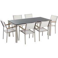 Beliani - Garden Dining Set Flamed Granite Top 180x90 cm Table 6 White Chairs Grosseto