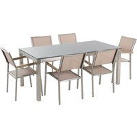 Beliani - 6 Seater Garden Dining Set Grey Granite Top with Beige Chairs GROSSETO