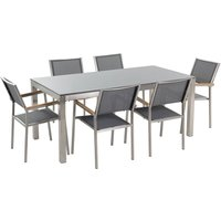 6 Seater Garden Dining Set Grey Granite Top with Grey Chairs GROSSETO - BELIANI