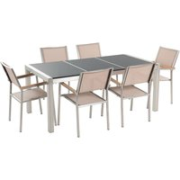 Beliani - 6 Seater Garden Dining Set Black Granite Triple Plate Top with Beige Chairs GROSSETO