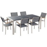 Beliani - 6 Seater Garden Dining Set Black Granite Triple Plate Top with Grey Chairs GROSSETO