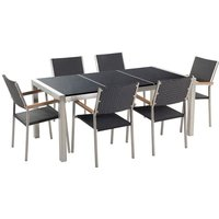 Beliani - 6 Seater Garden Dining Set Black Granite Triple Plate Top with Black Rattan Chairs GROSSETO