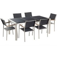 Beliani - 6 Seater Garden Dining Set Black Granite Top with Black Chairs GROSSETO