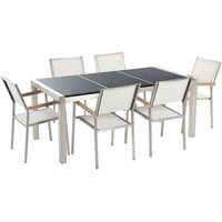 Beliani - 6 Seater Garden Dining Set Black Granite Triple Plate Top with White Chairs GROSSETO