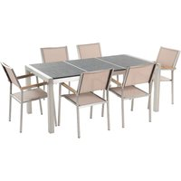Beliani - 6 Seater Garden Dining Set Black Basalt Top Beige Chairs GROSSETO