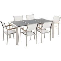 Beliani - 6 Seater Garden Dining Set Black Basalt Top White Chairs GROSSETO