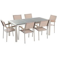 Beliani - 6 Seater Garden Dining Set Grey Granite Triple Plate Top with Beige Chairs GROSSETO