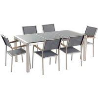 Beliani - 6 Seater Garden Dining Set Grey Granite Triple Plate Top with Grey Chairs GROSSETO