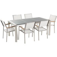 6 Seater Garden Dining Set Grey Granite Triple Plate Top with White Chairs GROSSETO - BELIANI