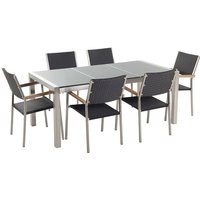 6 Seater Garden Dining Set Grey Granite Top with Black Rattan Chairs GROSSETO - BELIANI