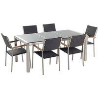 Beliani - 6 Seater Garden Dining Set Grey Granite Top with Black Rattan Chairs GROSSETO