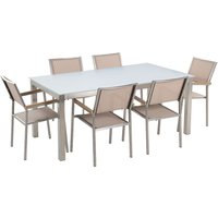 Beliani - 6 Seater Garden Dining Set White Glass Top with Beige Chairs GROSSETO