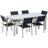 Beliani - 6 Seater Garden Dining Set White Glass Top with Black Chairs GROSSETO