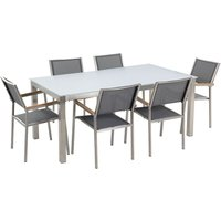 Beliani - 6 Seater Garden Dining Set White Glass Top with Grey Chairs GROSSETO