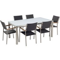 6 Seater Garden Dining Set White Glass Top with Rattan Chairs GROSSETO