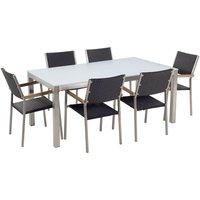 Beliani - 6 Seater Garden Dining Set White Glass Top Rattan Chairs Steel Frame Grosseto