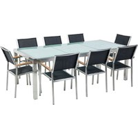 Beliani - 8 Seater Garden Dining Set Cracked Glass Top with Black Chairs GROSSETO