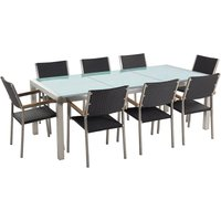 8 Seater Garden Dining Set Cracked Glass Top with Rattan Chairs GROSSETO - BELIANI