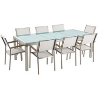 Beliani - 8 Seater Garden Dining Set Cracked Glass Top with White Chairs GROSSETO