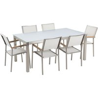 Beliani - 6 Seater Garden Dining Set White Glass Top with White Chairs GROSSETO