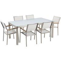 Beliani - 6 Seater Garden Dining Set White Glass Top White Chairs Steel Frame Grosseto