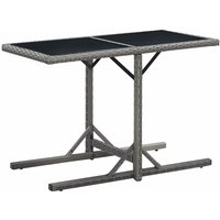 Garden Table Anthracite 110x53x72 cm Glass and Poly Rattan - Anthracite - Vidaxl
