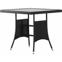 Garden Table Black 80x80x74 cm Poly Rattan