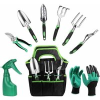 Garden tool set, 9-piece stainless steel hand tool set Garden shopping bag spray accessory set