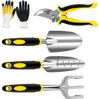Zqyrlar - Garden Tools Set 5 Piece Floral Heavy Duty Gardening Tools with pruning shears / hand trowel / transplanter / hand rake / gardening