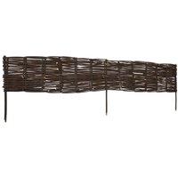 Garden Willow Border Fences 10 pcs 120 x 35 cm - Brown - Vidaxl