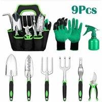 Gardening Tools 9pcs, Gardening Kit Stainless Steel Garden Tool Set with Waterproof Garden Bag, Ergonomic Rubber Handle Glove Garden, Shovel, Rake,