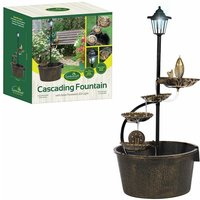 12260 1 Tier Cascading Barrel Fountain with 4 Lotus Leaves Including Pump Garden Decoration Water Feature, Copper - Gardenkraft