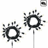 GardenKraft E27 Style 15 Bulbs Garden String Lights / 1 or 2 Pack / Indoor or Outdoor / IP65 Weatherproof / 2 Replacement Bulbs Included / Warm White