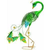 Metal Animal Lights / Solar Powered LEDs / Weatherproof Statues / Garden Decorations / Patio Ornaments (Peacock) - Gardenkraft