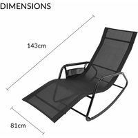 GardenKraft Outdoor Garden Rocking Chairs / 2 Styles Includes Pillow Or Side Bag/Steel Frame/Ultra-Durable Textilene Material/Black Or Grey Colours