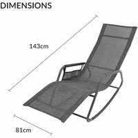 Outdoor Garden Rocking Chairs / 2 Styles Includes Pillow Or Side Bag/Steel Frame/Ultra-Durable Textilene Material/Black Or Grey Colours (Grey, With