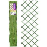 07249 1.8m x 0.3m Expanding Riveted Green Trellis Screen Garden Plant - Gardman