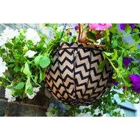 Gardman 35cm 14 Inch Decorative Zig Zag Hanging Basket Coco Liner Planter Black