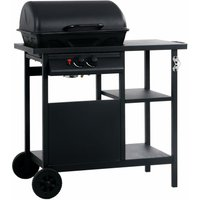 vidaXL Gas BBQ Grill with 3-layer Side Table Black - Black