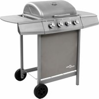 Gas BBQ Grill with 4 Burners Silver (FR/BE/IT/UK/NL only) - Silver - Vidaxl