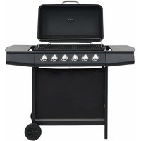 Gas BBQ Grill with 6 Cooking Zones Steel Black - Black - ZQYRLAR