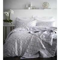 Gatsby Geometric 100% Cotton 200 Thread Count Double Duvet Cover Set Ivory - BEDMAKER