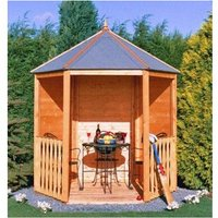 Shire - Gazebo Arbour Dip Treated Garden Arch Seat Approx 6 x 7 Feet